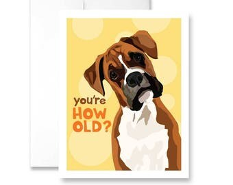 You're HOW OLD? (with Boxer dog) - Birthday Card
