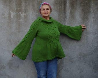 Women tops Sweaters & Cardigans handmade Hand knit Sweater...X L / XXL / green