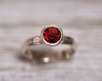 Cranberry Garnet Ring, Faceted Gemstone Sterling Silver Ring Dark Cherry Red Garnet Jewelry January Birthstone - Size 6.5 or Made to Order