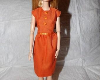 Solid orange modest dress for Fashion Dolls - ed977