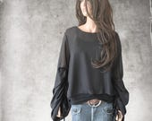 Top black shirt/pleated long sleeve/chiffon blouse