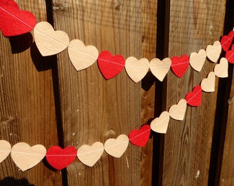 Heart Garland - made with red wool blend felt, perfect for valentines, kids room or birthday celebrations.