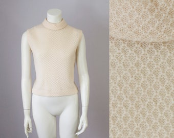 50s 60s Cream Lambswool Mohair Turtleneck Sweater Blouse (S, M)