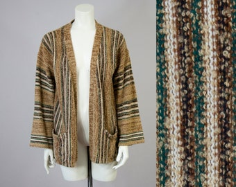 70s Vintage Striped Boucle Knit Cardigan (M)