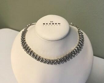 Vintage Silver Tone Choker Necklace