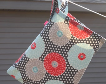 Lined Clothespin Bag Handmade- Flowers Grey Light Blue Red and polka dots by Pink Tag Original Stay Open Design