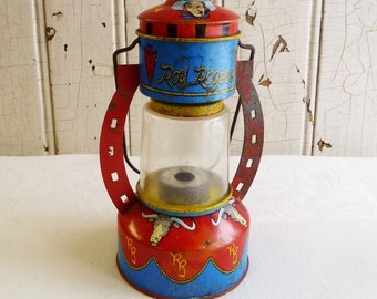 Vintage Roy Rogers Toy Lantern - Ohio Art Company - Cowboy Kitsch - TV Western Pretend Play - Mid Century 1960s - Non-Working Display Item