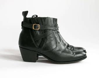Vintage 70's Black Leather Buckle Boots Men's Size 9 1/2 D / Retro / Western Wear / Hip