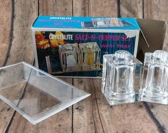 Vintage Crystallite Plastic Salt and Pepper Set Retro Mid Century Kitchen Decor Glamping Accessory