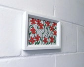 Smile, Flowers Ink Drawing. Red and Dark Green Abstract Floral Drawing