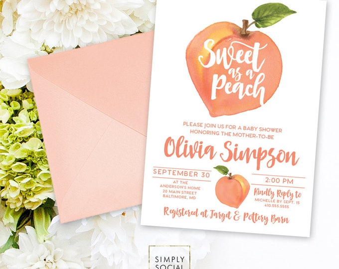 Peach Baby Shower Invitation - Watercolor Peach Bridal Shower Invite Birthday Invite Printable Sweet as a Peach Sweet Peach
