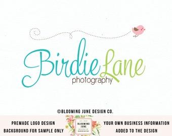 bird logo photography logo children's boutique logo baby logo craft shop logo sewing logo knitting logo photographers logo premade logo