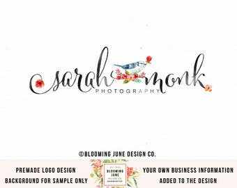 bird logo watercolor logo photography logo photographers logo premade logo floral logo flower logo event planner logo wedding logo watermark