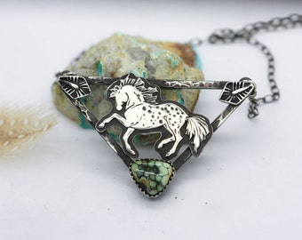 Appaloosa Totem Necklace. Wild Horse Necklace. Natural Turquoise Necklace. Spirit Animal Necklace.