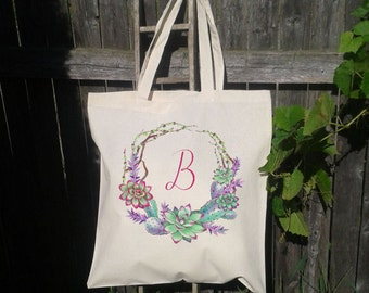 Succulent Wreath, Bridesmaid Bridal Party Tote Bag, Customize with Initial, Personalized Gift