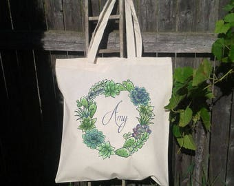 Succulent Wedding Favor, Wedding Welcome Tote Bag, Bridal Party Favor