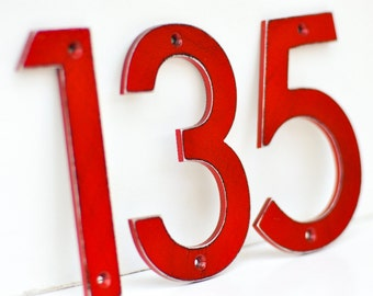 Red Distressed Aluminum House Numbers