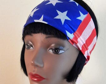 stars and stripes headband, patriotic headband, workout