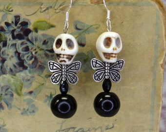 Fat Bottom Dead Fairy Winged Stone Skull Beaded Earrings Hippie Couture Cottage Chic Rustic Goth