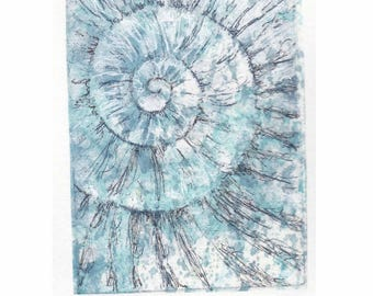 Original ammonite fossil zinc etching no.96 with mixed media jurassic Dorset coast fossil spiral fossil ammonites golden section