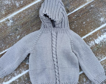 back zip infant hooded sweater 12-18 month size
