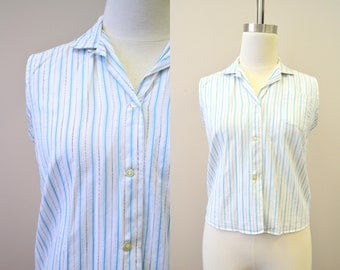 1960s Striped Sleeveless Shirt