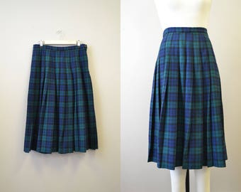 1980s Pendleton Black Watch Tartan Plaid Wool Pleated Skirt
