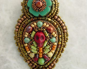 Day of the Dead Brooch Red