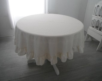 round tablecloth cream tablecloth cottage chic ruffle table decor shabby decor polyester cloth VINTAGE linens ROUND 68 inch