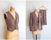vintage 1970s 3 piece ladies suit - women's vintage pantsuit / 70s burgundy microcheck pant suit / wide leg trousers . tweed jacket & vest