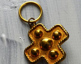 Cross Glass Holder Goldtone   retro