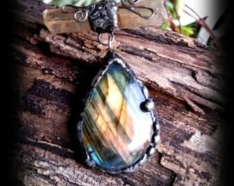 Labradorite pendant - handmade silver necklace - hippy -gypsy -Bohemian