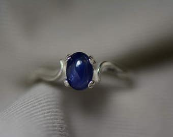 Sapphire Ring, Blue Sapphire Cabochon Ring 1.09 Carat Appraised at 500.00, September Birthstone, Natural Sapphire Jewelry, Oval Cut