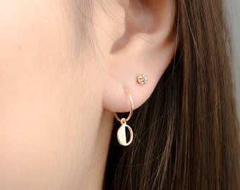 Tiny Cut Out Hoops, Sterling Silver, Gold Plated, Hoops with Pendant, Minimalist Dangle Hoops, Lunaijewelry, Gift for Girlfriend, EAR150