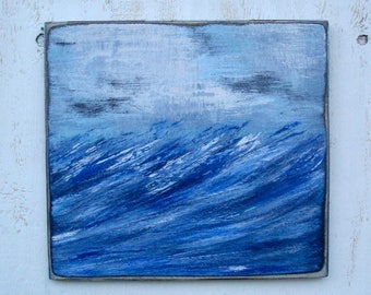 seascape painting on wood
