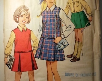 Vintage Simplicity 8311 Girls Size 4 Jumper or Skirt and Blouse Sewing Pattern Childs, Girls and Chubbies Sizes  1969