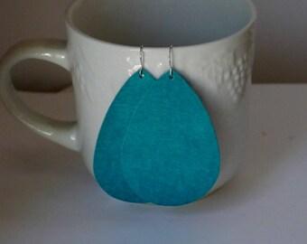 Turquoise Teal Suede Leather Teardrop Drop Earrings