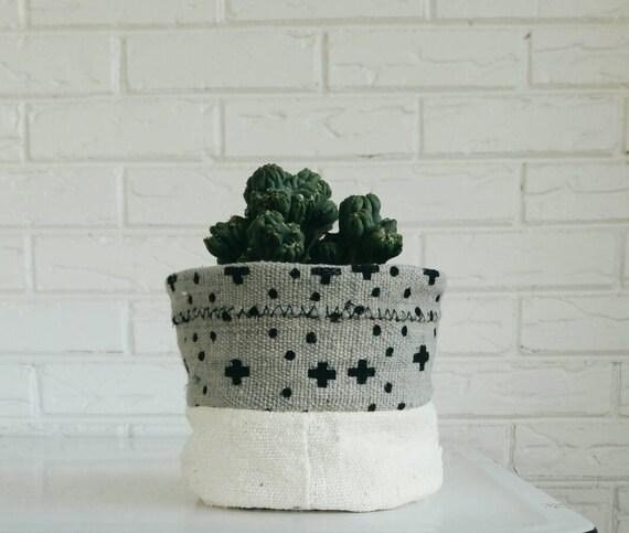 Vintage Mudcloth Plant Cover - Planter Fabric - Modern Bohemian Decor