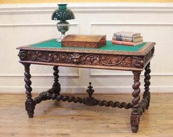 Antique English Oak Barley Twist Carved Desk, Library Table C.1880.