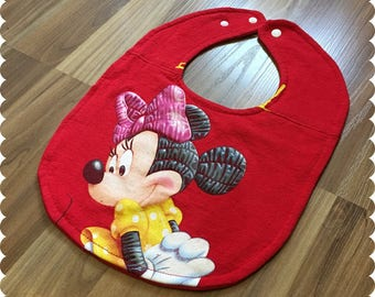 Minnie Mouse, Disney Baby Bib, Recycled T-Shirt Bib, Disney Baby Shower, Baby Girl Gifts