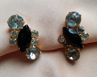 LOVELY  Screwback Earrings w/ Prong Set Clear & Black Rhinestones VINTAGE