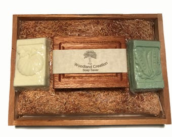 Natural Soap Gardener's Gift Set, Bath Soap Set with Soap Saver Great Mother's Day or Father's Day  Or Teacher's Gift