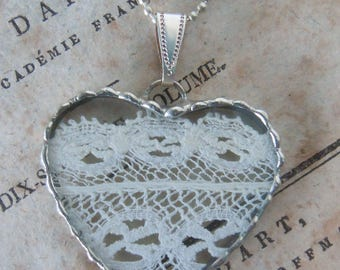Fiona & The Fig -  Antique Victorian Eyelet Lace- Charm - Necklace - Pendant - Jewelry