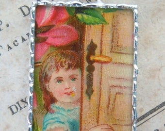 Fiona & The Fig - Victorian Era-Die Cut Scrap-Little Girl at The Door - Soldered Charm - Necklace - Pendant-Jewelry