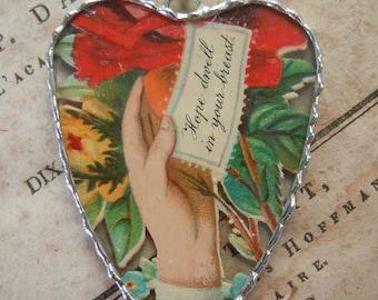 Fiona & The Fig - Victorian Era-Die Cut Scrap- Heartfelt Sentiment - Soldered Charm - Necklace - Pendant-Jewelry
