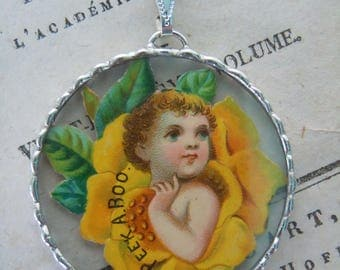 Fiona & The Fig - Victorian Die Cut Scrap - PEEK A BOO - Charm -  Necklace - Pendant - Jewelry