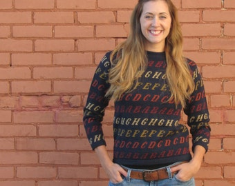 Vintage 80s 90s ALPHABET Letters Navy Crew Neck KNIT Pullover Fitted Jumper Sweater - S Small M Medium