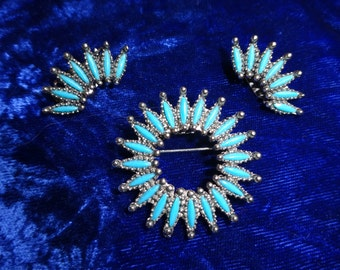 Vintage Faux Turquoise brooch and earrings, Navajo American Indian Style, Southwestern style