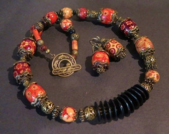 Necklace Set - Wooden and Brass Beaded Necklace  with Matching Earrings - Multiple Colors - Black Accents - Rare and Unusual