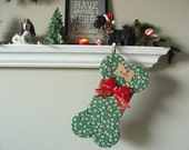 Dog Bone Stocking - PERSONALIZED - YOUR Dogs Name - LARGE Dog - Snowflakes, Candy Canes & Holly